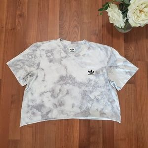 Adidas Tie Dye Crop Top Gray and White XL